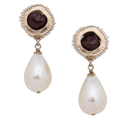 Chanel Gripoix Pearl Drop CC Clip-On Earrings