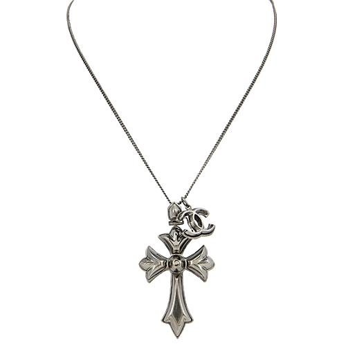 Chanel Gunmetal Cross Necklace