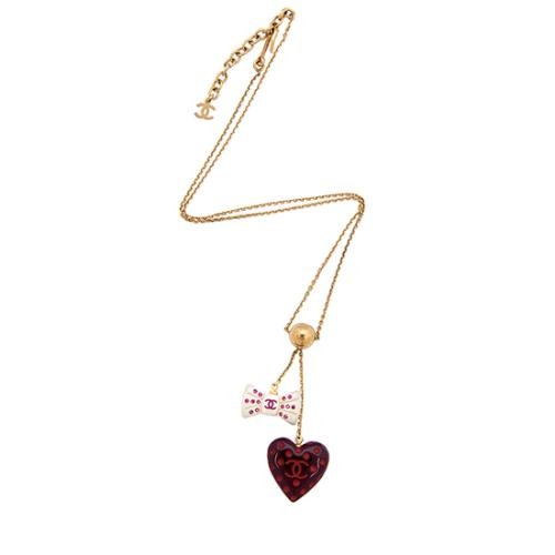 Chanel Heart Bow Necklace