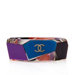 Chanel Lucite Enamel Geometric Bangle Bracelet
