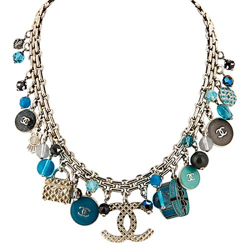 Chanel Mixed Blues Charm Necklace