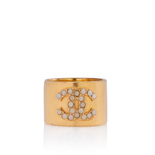 Chanel Opal CC Wide Ring - Size 6 1/2