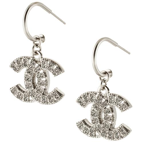 Chanel Pave CC Drop Earrings