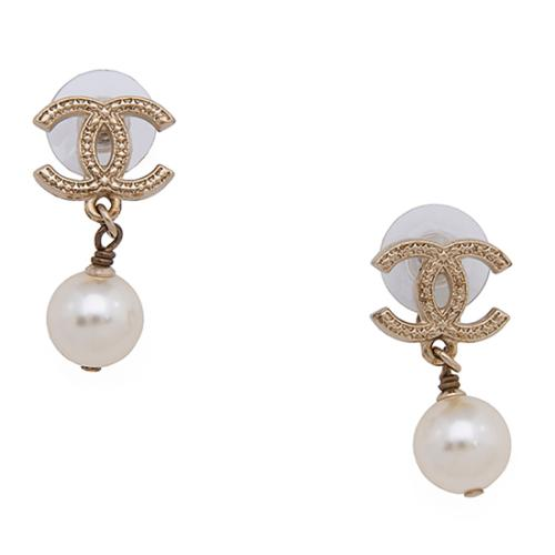 Chanel Pearl CC Drop Earrings