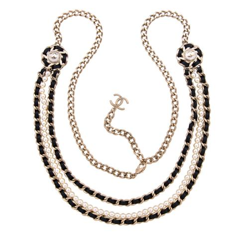 Chanel Pearl Leather Chain CC Necklace