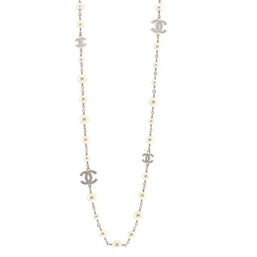Chanel Pearl Strass Cc Long Necklace