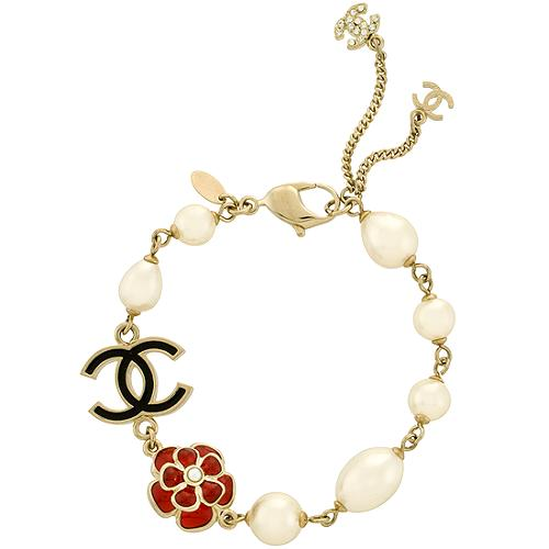 Chanel Pearl With Black CC Bracelet