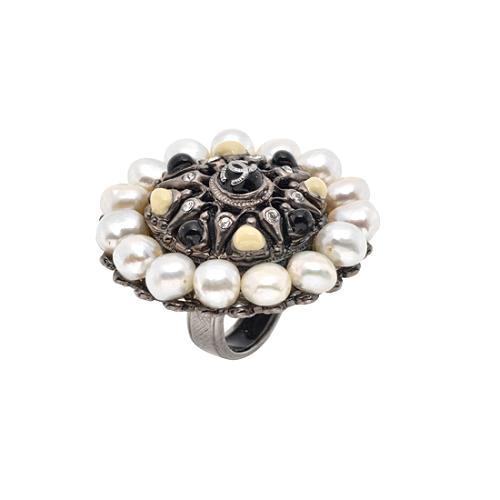 Chanel Pearl & Crystal Logo Ring