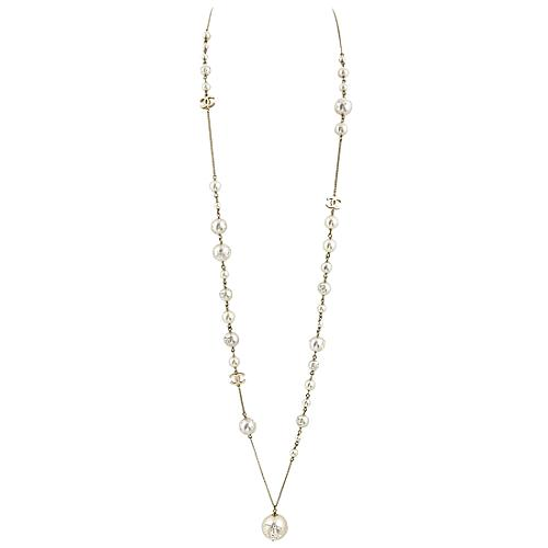 Chanel Pearly Inlaid Strass Long Necklace