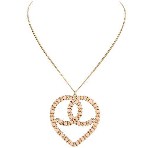 Chanel Pink Ribbon Heart Pendant