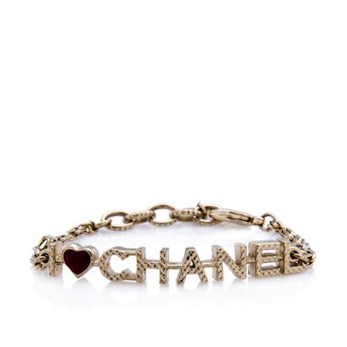 Chanel Quilted I Heart Chanel Logo Bracelet