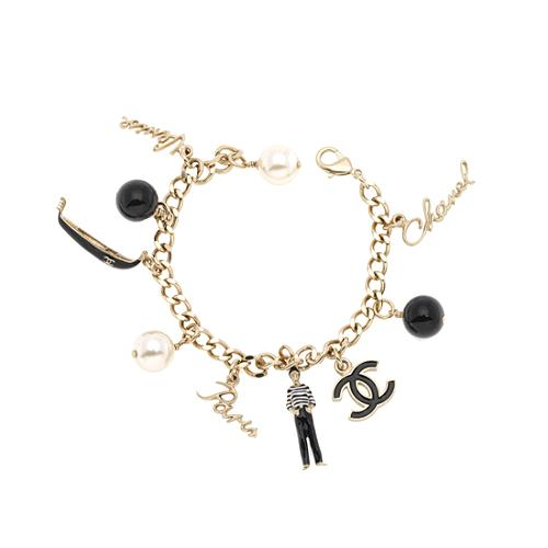 Chanel Sculpted Coco Chanel Charm Bracelet