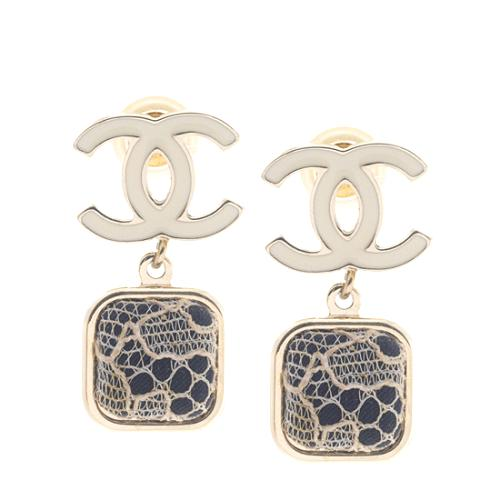 Chanel Signature Logo Lace-Covered Earrings