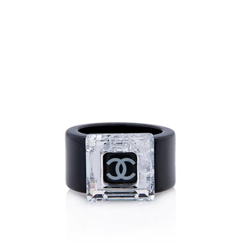 Chanel Square Resin Crystal Ring - Size 7 - FINAL SALE