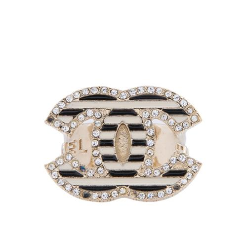 Chanel Striped Crystal CC Ring - Size 6 1/2