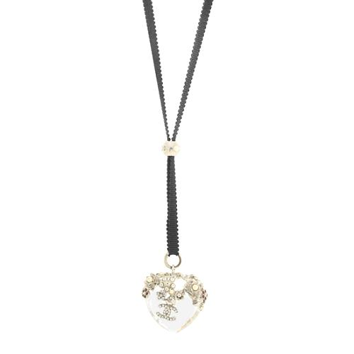 Chanel Swarovski Crystal Heart Necklace