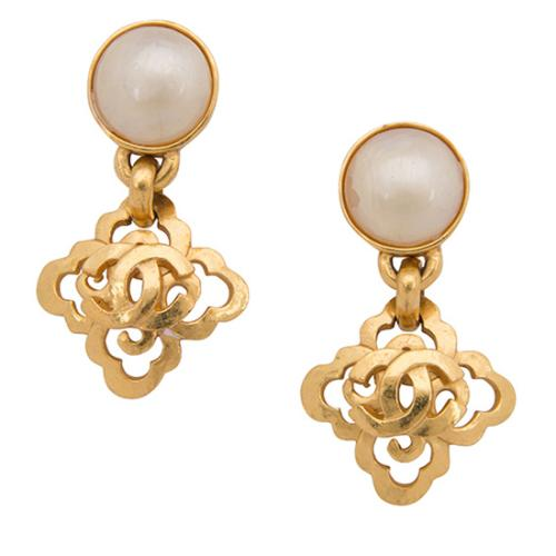 Chanel Vintage CC Drop Clip On Earrings