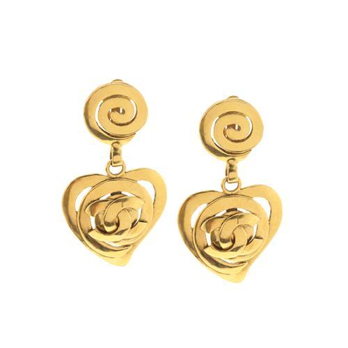 Chanel Vintage Heart Earrings