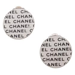 Chanel Vintage Logo Round Clip On Earrings