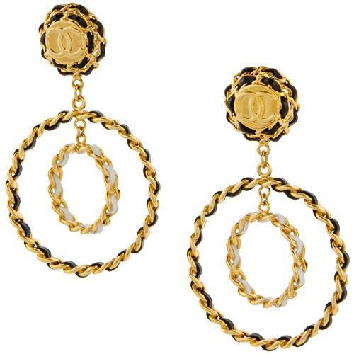 Chanel Vintage Metal Signature Double Loop Chain Earrings