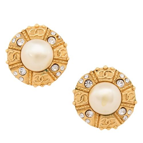 Chanel Vintage Pearl CC Clip Earrings