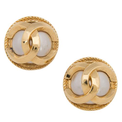 Chanel Vintage Pearl CC Clip-On Earrings