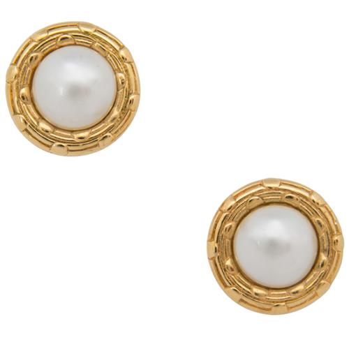 Chanel Vintage Pearl Round Clip On Earrings