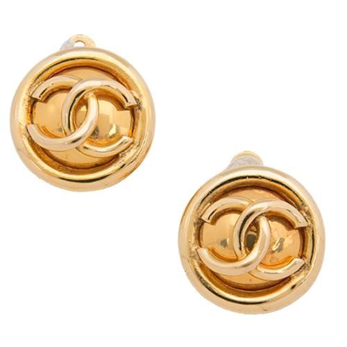 Chanel Vintage Round CC Small Clip-On Earrings
