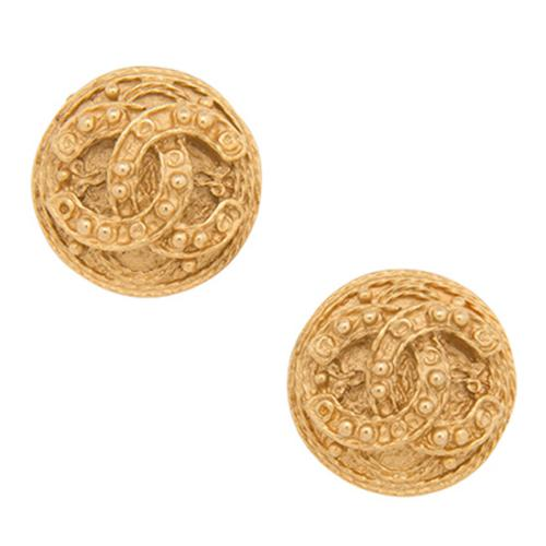 Chanel Vintage Round Dotted CC Small Clip-On Earrings