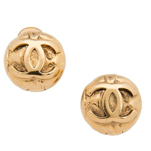 Chanel Vintage Round Logo Embossed Earrings