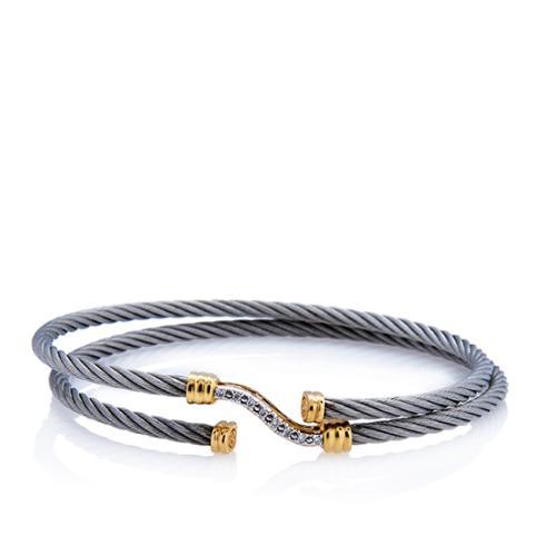 Charriol 18kt Yellow Gold Diamond Wave Cable Bracelet