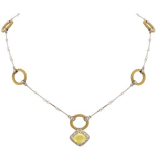 Charriol Lemon Quartz Cable Necklace