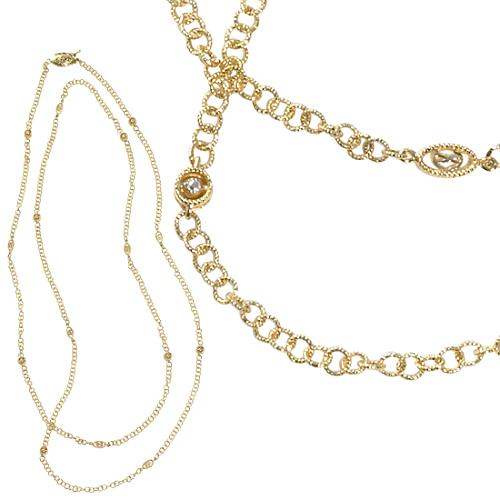 Charriol Long Delicate Gold Chain Necklace