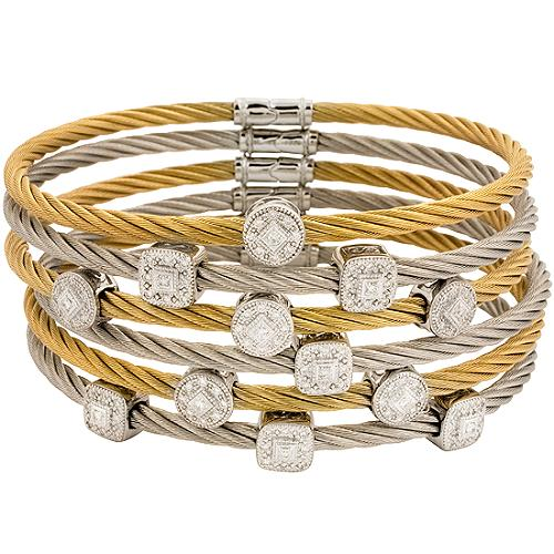 Charriol Set of 6 Diamond Cable Cuffs