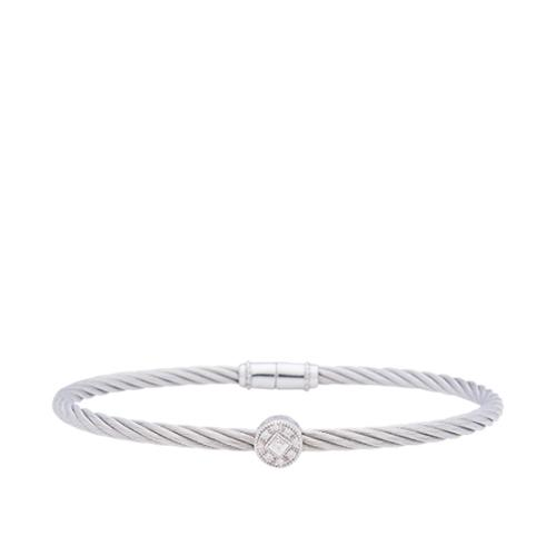 Charriol Stainless Steel 18kt White Gold Diamond Single Station Cable Bangle