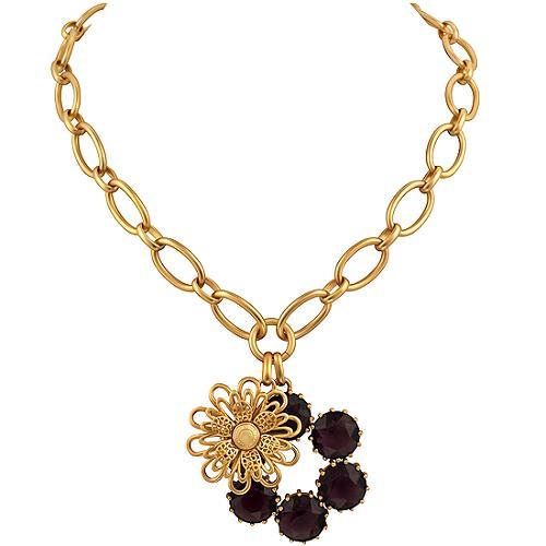 Coach Daphne Double Charm Flower Necklace