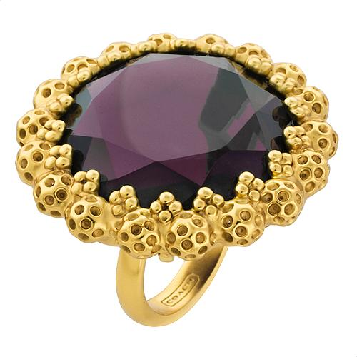 Coach Daphne Glass Faceted Stone Ring