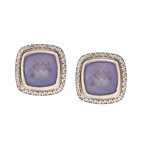 David Yurman 11mm Blue Chalcedony Albion Earrings