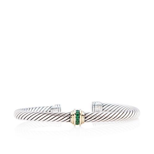 David Yurman 14kt Gold Sterling Silver Emerald Cable 5mm Single Station Bracelet