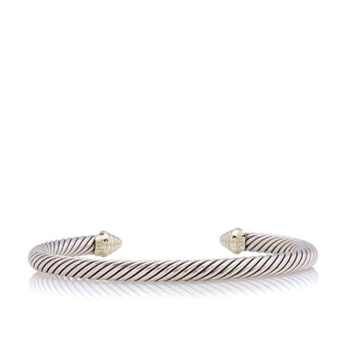 David Yurman 14kt Yellow Gold Sterling Silver Cable 5mm Classic Cuff Bracelet