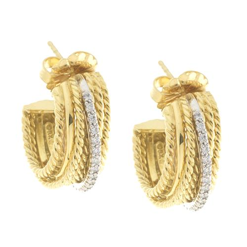 David Yurman 18k Gold Pave Diamond Crossover Earrings