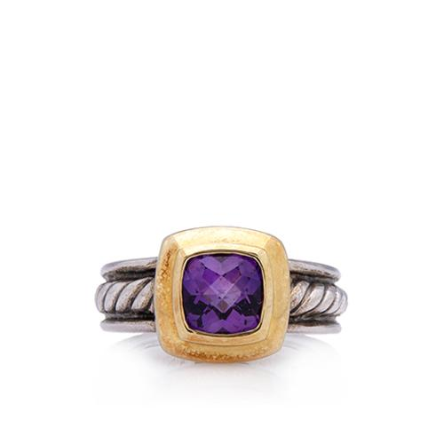 David Yurman 18kt Gold Sterling Silver Cable Amethyst Cocktail Ring - Size 6