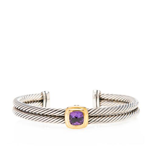 David Yurman 18kt Yellow Gold Sterling Silver Amethyst Double Cable Cuff