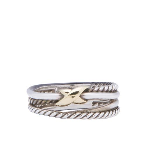 David Yurman 18kt Yellow Gold Sterling Silver Crossover Ring - Size 6