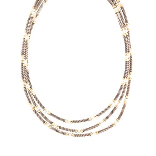 David Yurman 3 Strand Pearl Cable Necklace