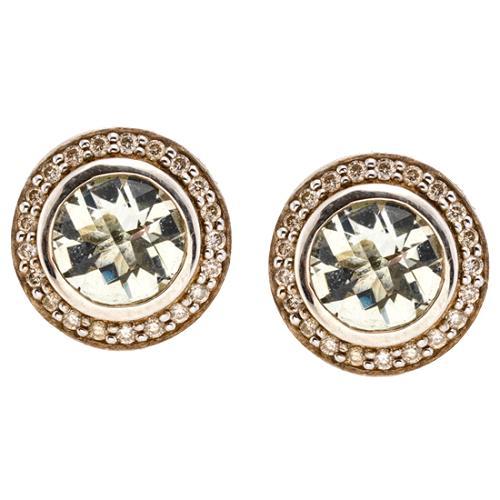 David Yurman 8MM Round Prasiolite Earrings