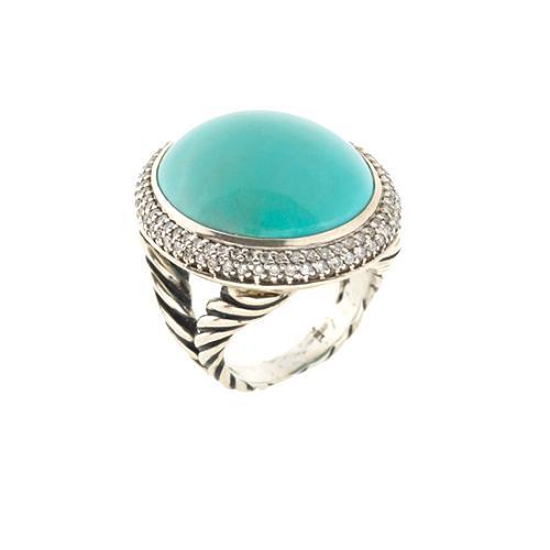 David Yurman Aqua Chalcedony Medium Oval Ring