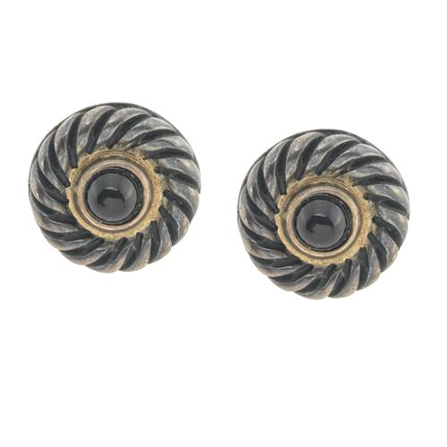 David Yurman Black Onyx & Sterling Silver Cookie Earrings