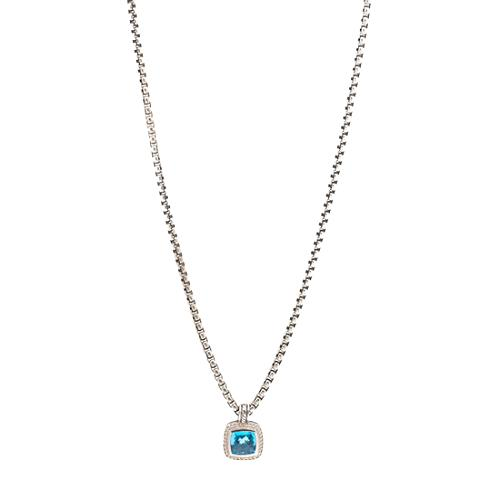 David Yurman Blue Topaz Petite Albion Enhancer and Box Chain Necklace