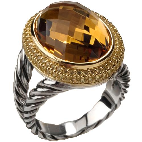 David Yurman Cable Candy Citrine Oval Ring